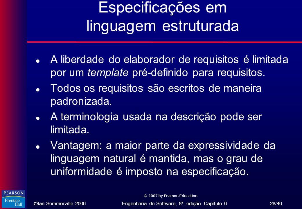 Especificações em linguagem estruturada