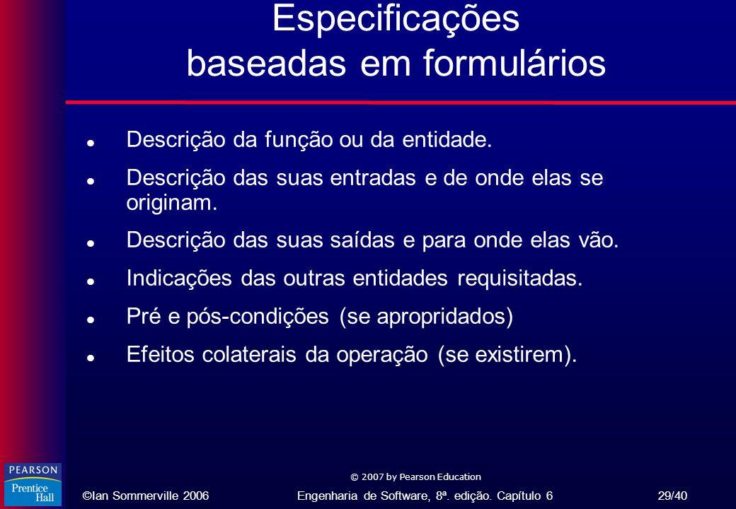 Especificações baseadas em formulários