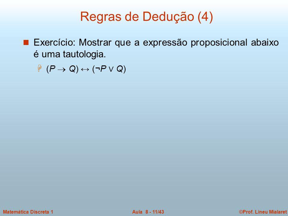 Regras de Dedução (4) Exercício: Mostrar que a expressão proposicional abaixo é uma tautologia.