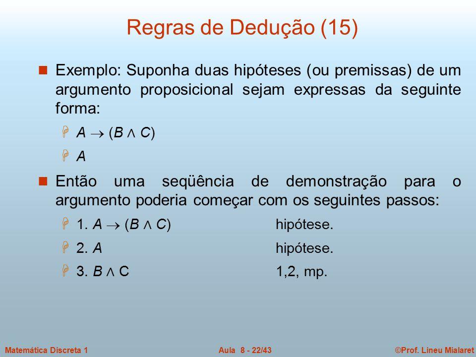Regras de Dedução (15) Exemplo: Suponha duas hipóteses (ou premissas) de um argumento proposicional sejam expressas da seguinte forma: