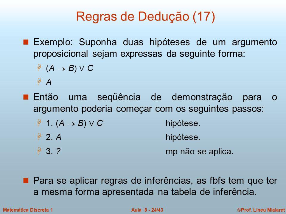 Regras de Dedução (17) Exemplo: Suponha duas hipóteses de um argumento proposicional sejam expressas da seguinte forma: