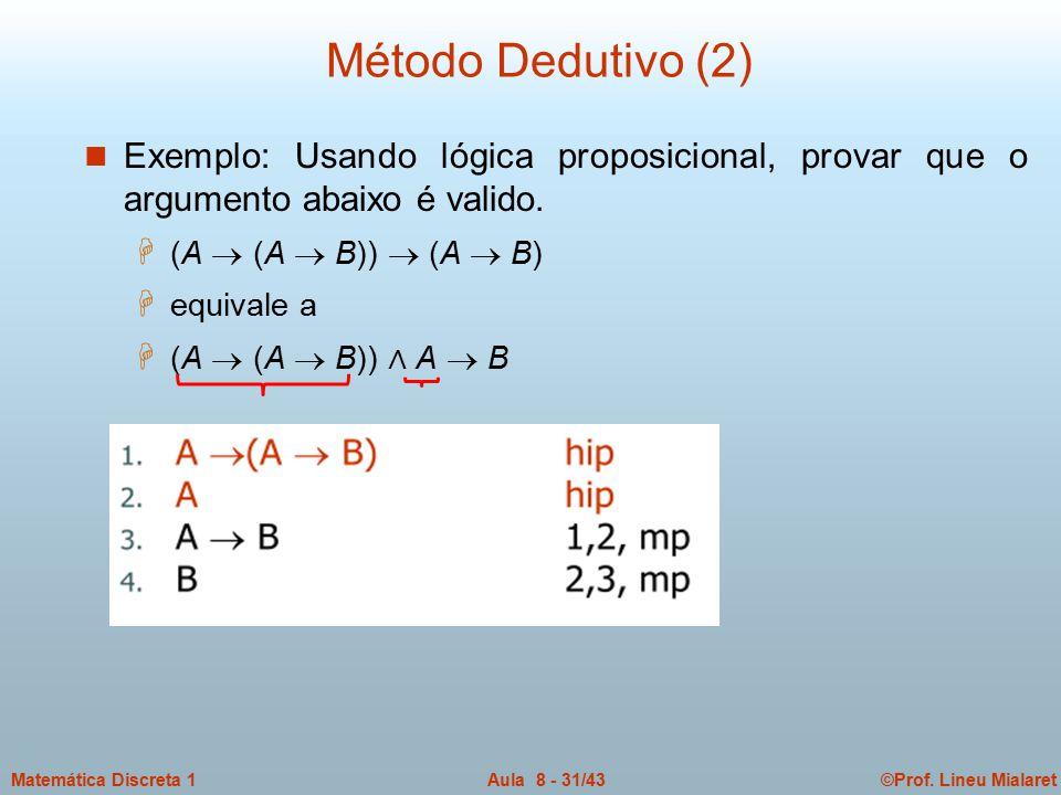 Método Dedutivo (2) Exemplo: Usando lógica proposicional, provar que o argumento abaixo é valido. (A  (A  B))  (A  B)