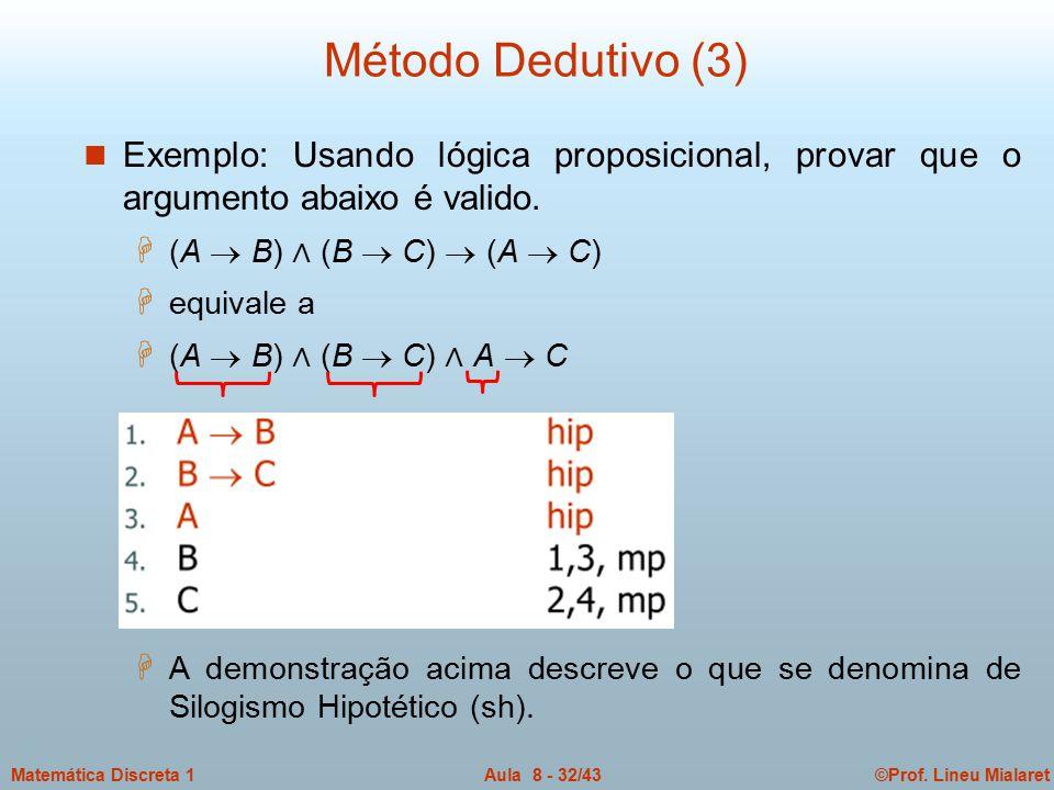Método Dedutivo (3) Exemplo: Usando lógica proposicional, provar que o argumento abaixo é valido. (A  B) ∧ (B  C)  (A  C)