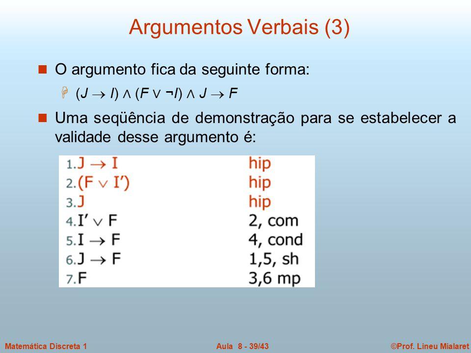 Argumentos Verbais (3) O argumento fica da seguinte forma: