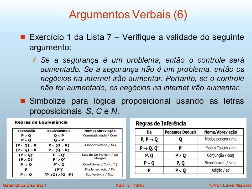 Argumentos Verbais (6) Exercício 1 da Lista 7 – Verifique a validade do seguinte argumento: