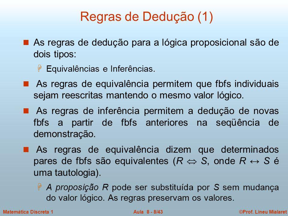 Regras de Dedução (1) As regras de dedução para a lógica proposicional são de dois tipos: Equivalências e Inferências.