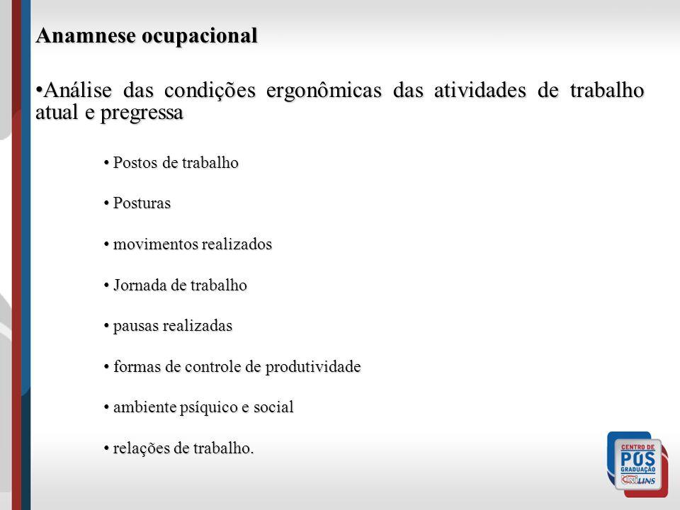 Anamnese ocupacional Análise das condições ergonômicas das atividades de trabalho atual e pregressa.