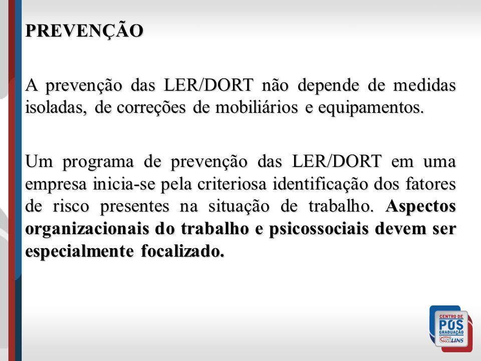 PREVENÇÃO A prevenção das LER/DORT não depende de medidas isoladas, de correções de mobiliários e equipamentos.