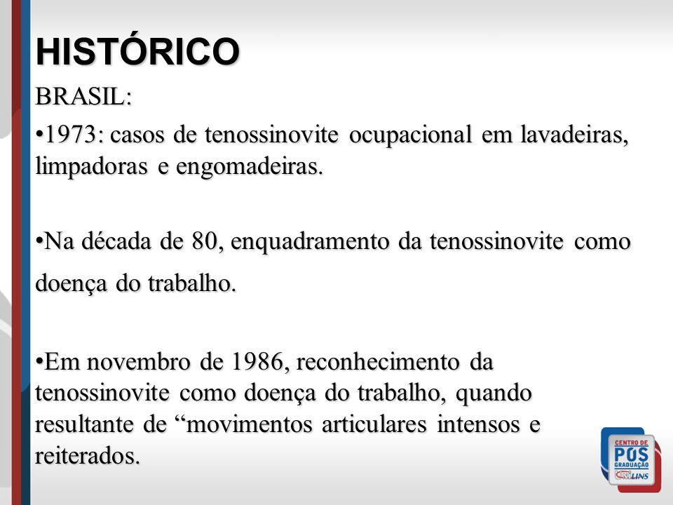 HISTÓRICO. BRASIL: 1973: casos de tenossinovite ocupacional em lavadeiras, limpadoras e engomadeiras.