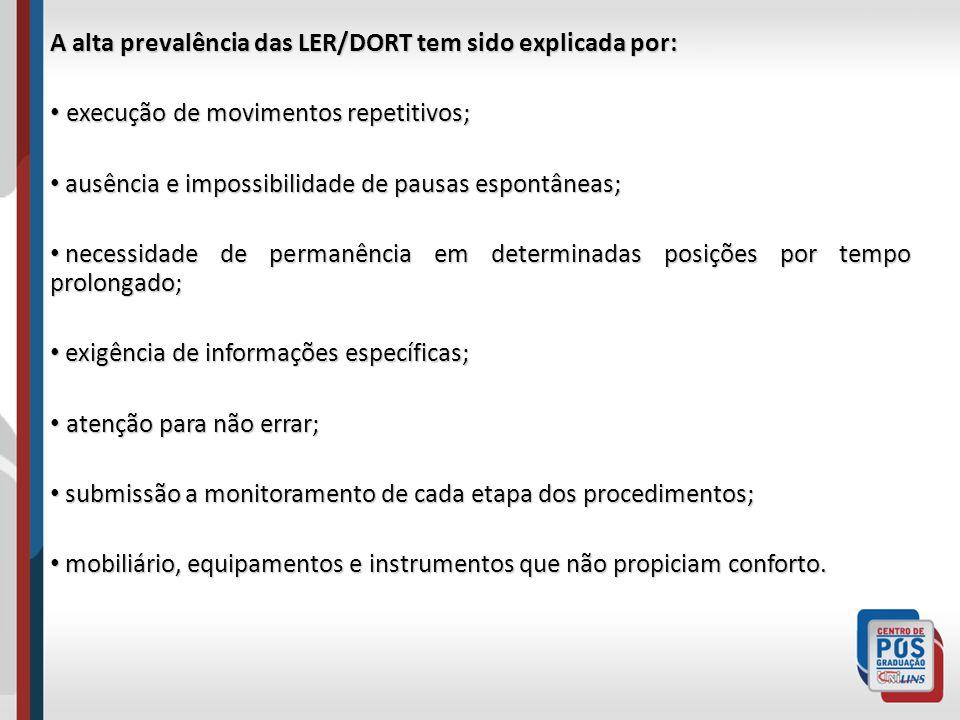 A alta prevalência das LER/DORT tem sido explicada por: