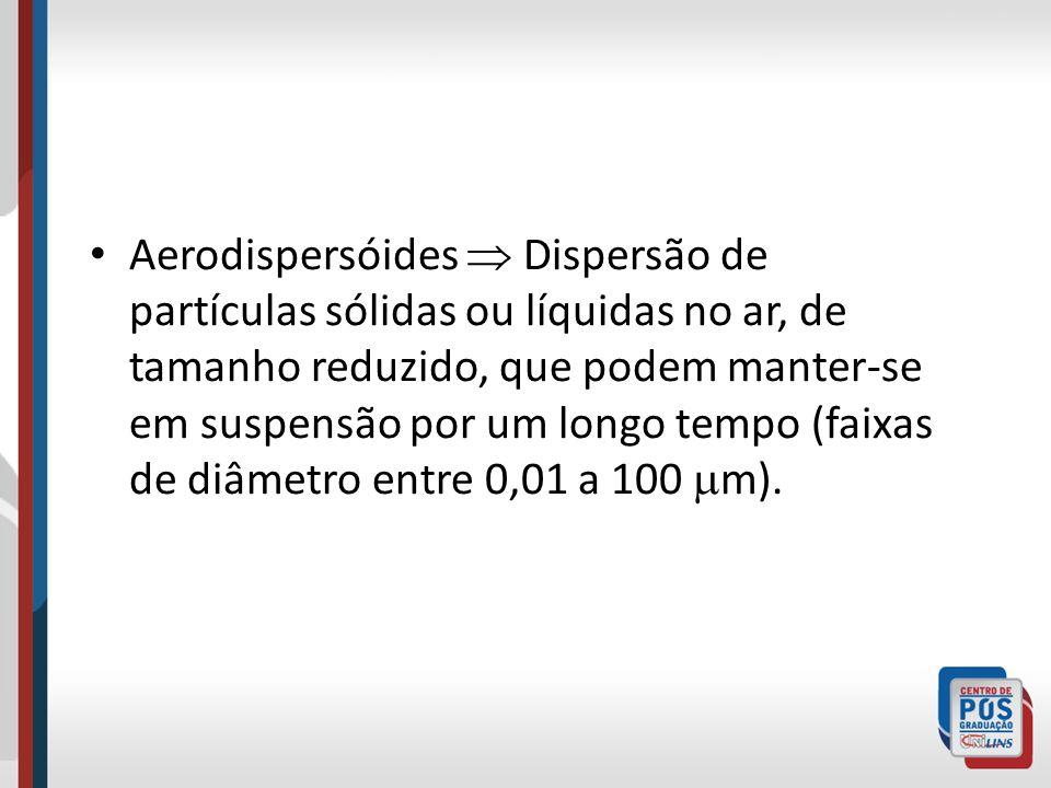 Aerodispersóides  Dispersão de partículas sólidas ou líquidas no ar, de tamanho reduzido, que podem manter-se em suspensão por um longo tempo (faixas de diâmetro entre 0,01 a 100 m).