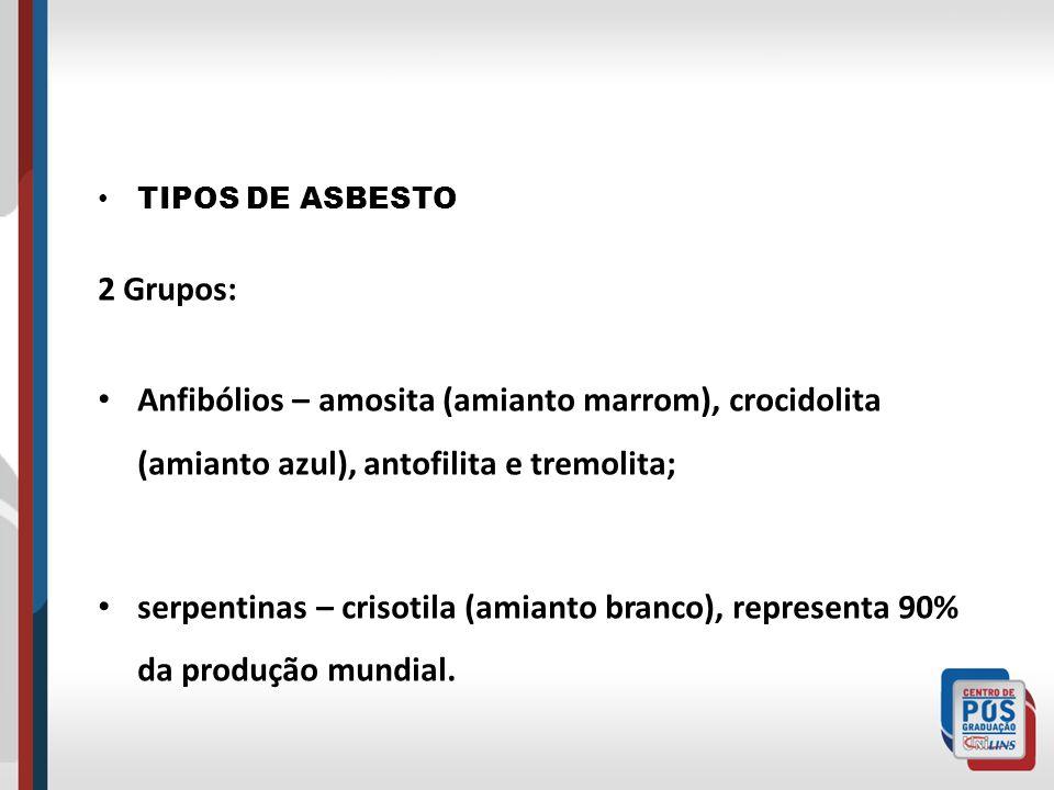 TIPOS DE ASBESTO 2 Grupos: Anfibólios – amosita (amianto marrom), crocidolita (amianto azul), antofilita e tremolita;