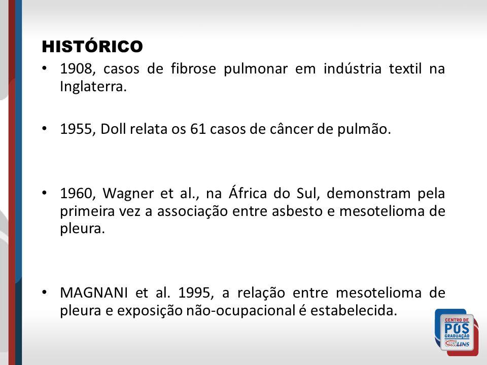 HISTÓRICO 1908, casos de fibrose pulmonar em indústria textil na Inglaterra. 1955, Doll relata os 61 casos de câncer de pulmão.