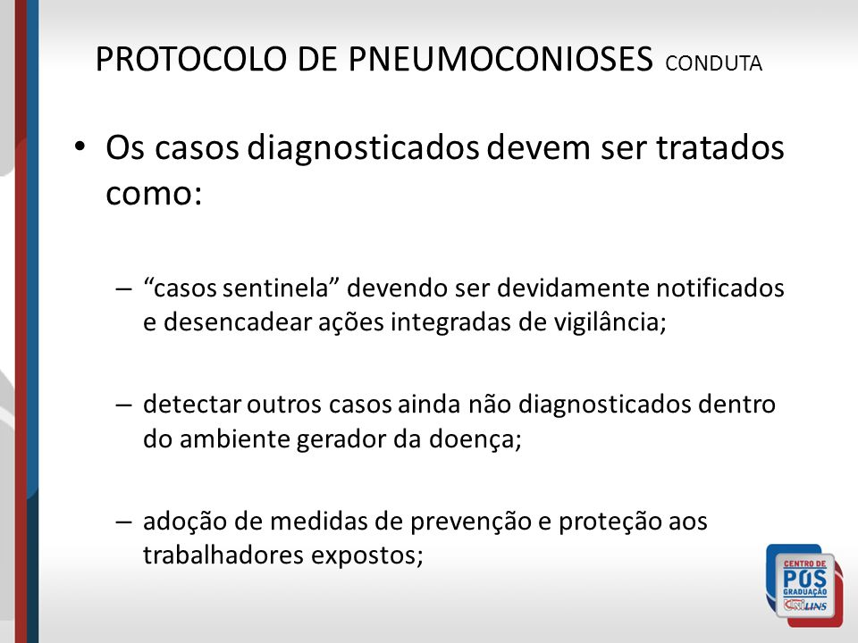 PROTOCOLO DE PNEUMOCONIOSES CONDUTA