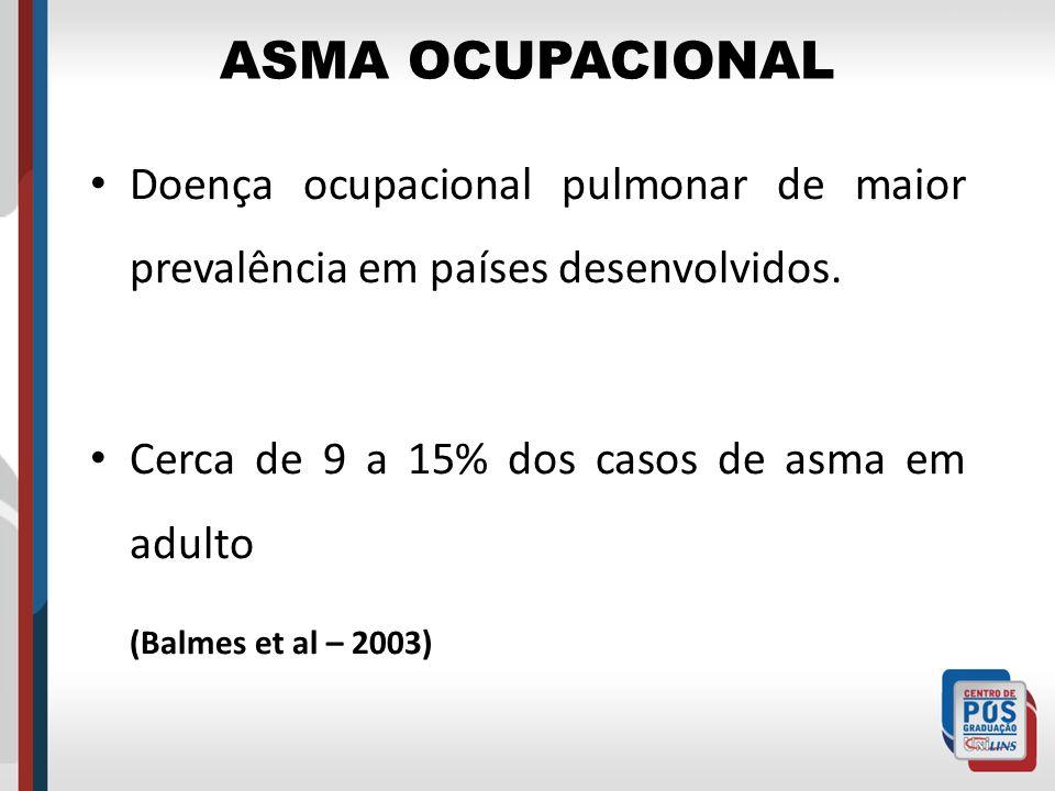 ASMA OCUPACIONAL Doença ocupacional pulmonar de maior prevalência em países desenvolvidos. Cerca de 9 a 15% dos casos de asma em adulto.
