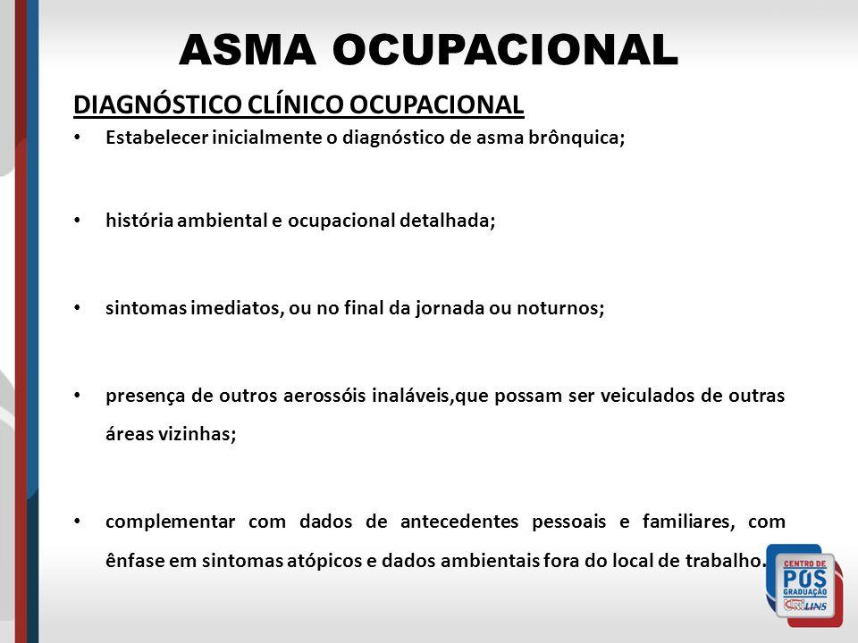 ASMA OCUPACIONAL DIAGNÓSTICO CLÍNICO OCUPACIONAL