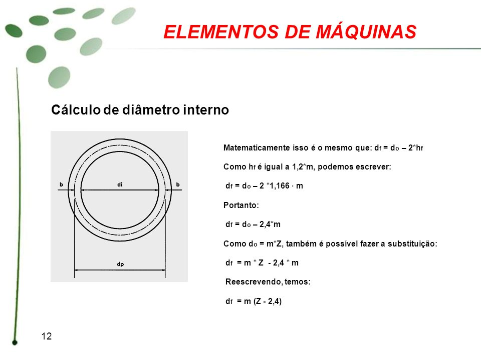 ELEMENTOS DE MÁQUINAS Cálculo de diâmetro interno