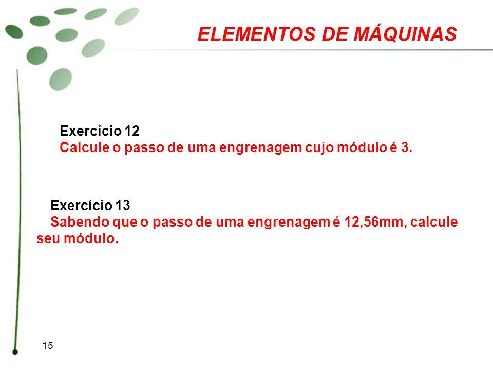 ELEMENTOS DE MÁQUINAS Exercício 12