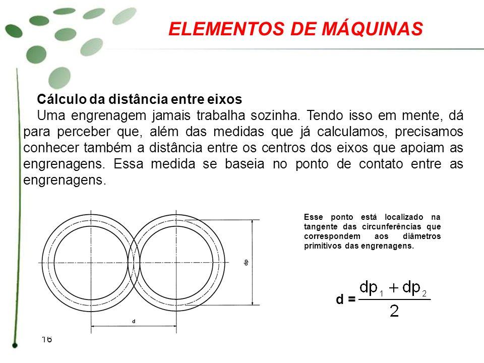 ELEMENTOS DE MÁQUINAS Cálculo da distância entre eixos