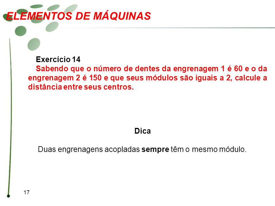 ELEMENTOS DE MÁQUINAS Exercício 14