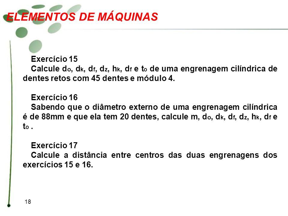 ELEMENTOS DE MÁQUINAS Exercício 15