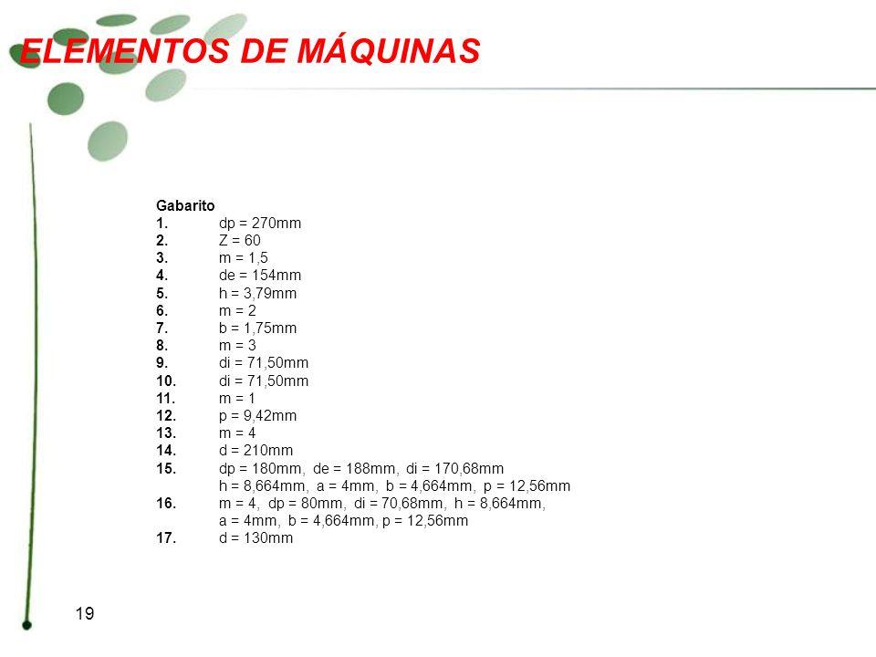 ELEMENTOS DE MÁQUINAS Gabarito 1. dp = 270mm 2. Z = 60 3. m = 1,5