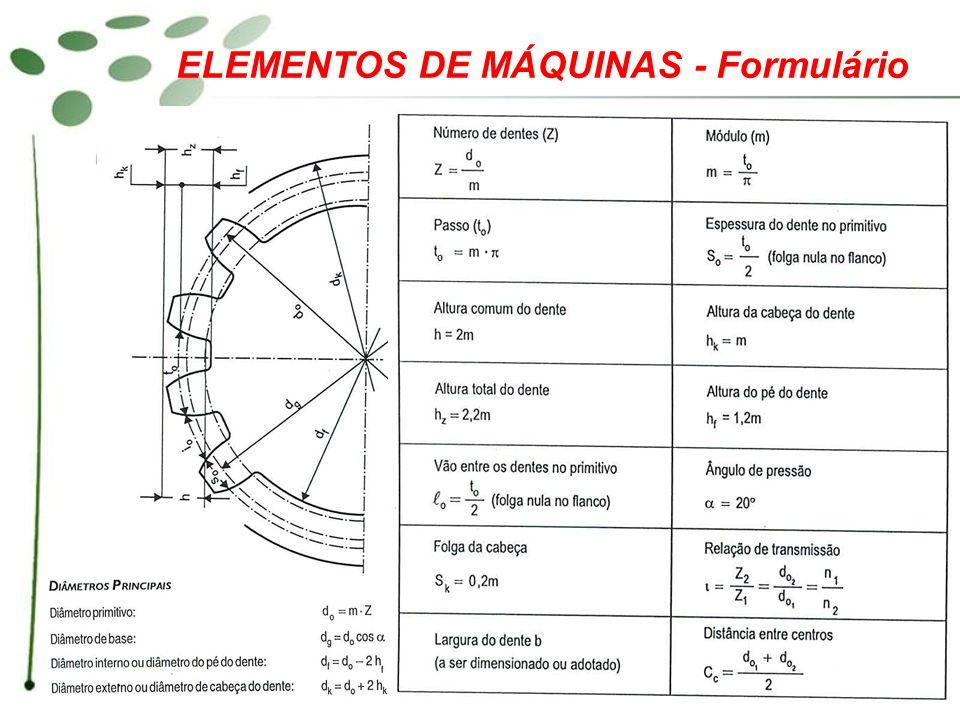 ELEMENTOS DE MÁQUINAS - Formulário