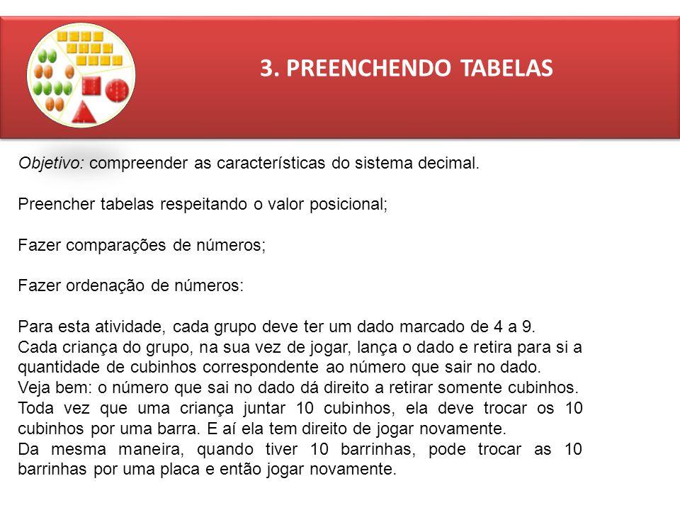 3. PREENCHENDO TABELAS Objetivo: compreender as características do sistema decimal. Preencher tabelas respeitando o valor posicional;