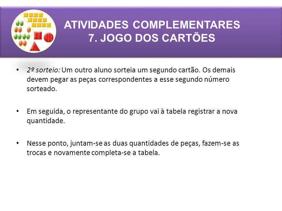 ATIVIDADES COMPLEMENTARES 7. JOGO DOS CARTÕES