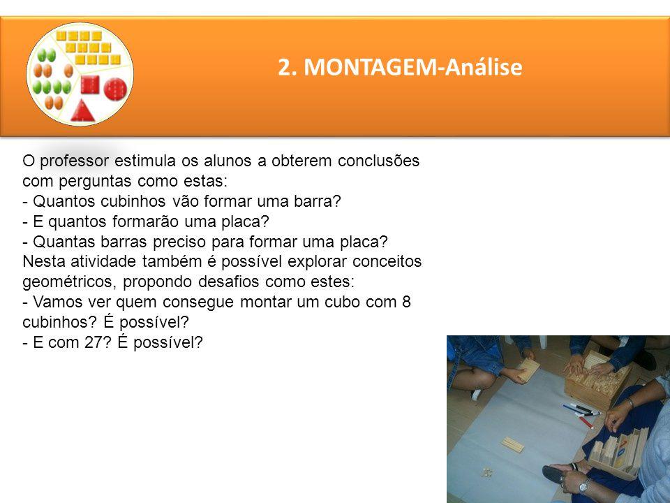 2. MONTAGEM-Análise O professor estimula os alunos a obterem conclusões com perguntas como estas: - Quantos cubinhos vão formar uma barra