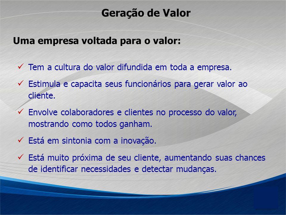 Geração de Valor Uma empresa voltada para o valor: