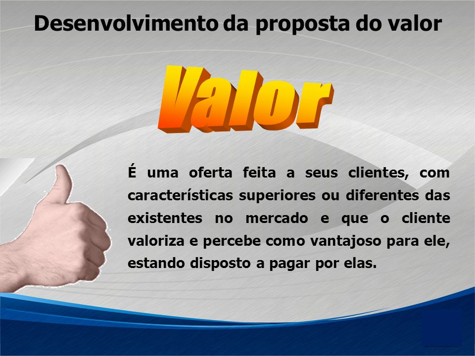 Valor Desenvolvimento da proposta do valor