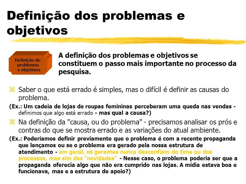 Definição dos problemas e objetivos