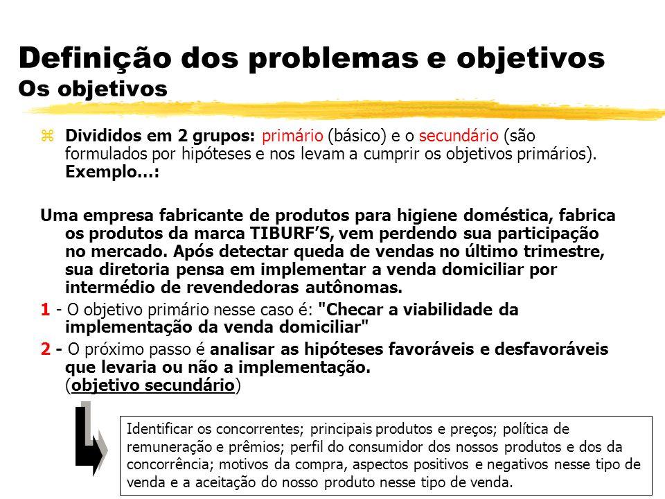 Definição dos problemas e objetivos Os objetivos