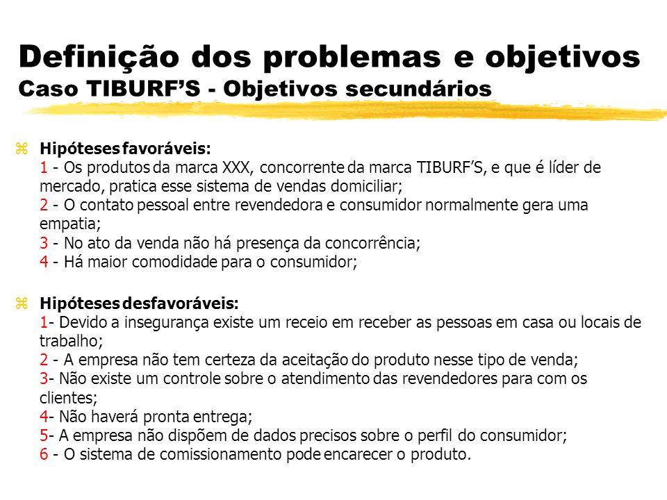 Definição dos problemas e objetivos Caso TIBURF'S - Objetivos secundários