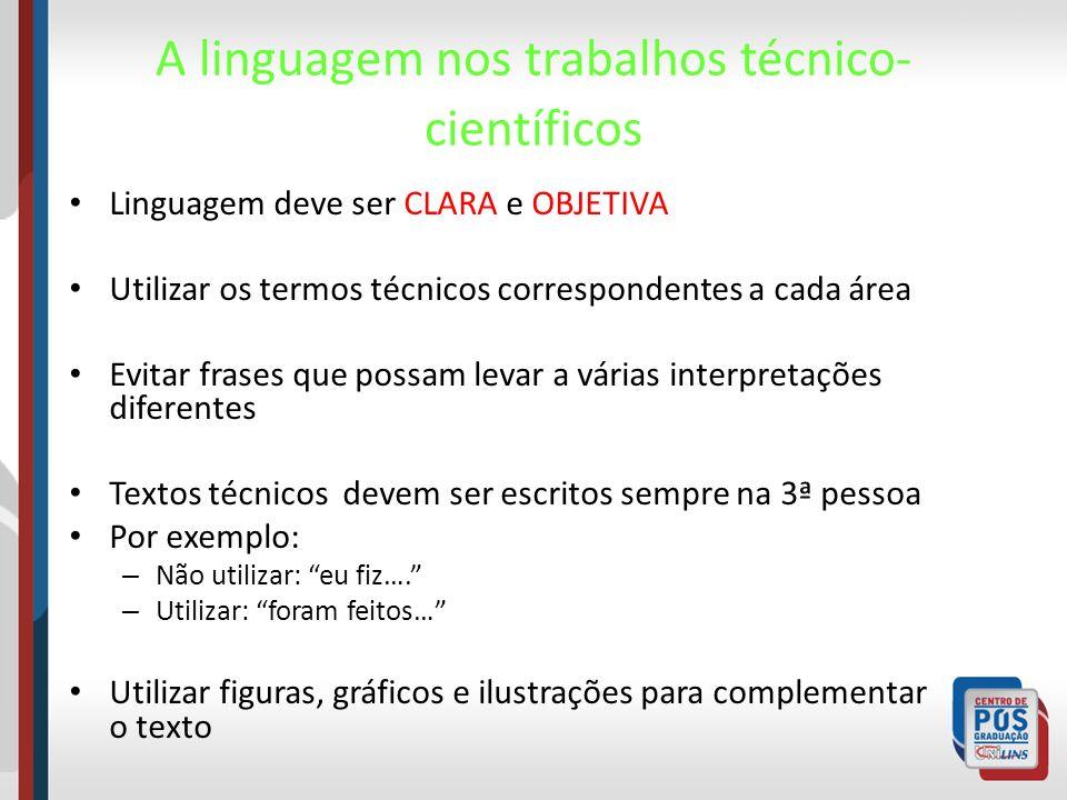 A linguagem nos trabalhos técnico-científicos