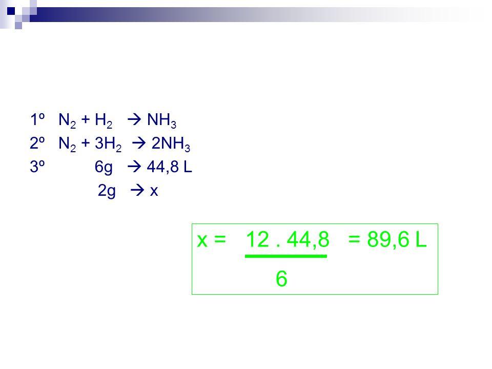 1º N2 + H2  NH3 2º N2 + 3H2  2NH3. 3º 6g  44,8 L. 2g  x. x = 12 . 44,8 = 89,6 L.