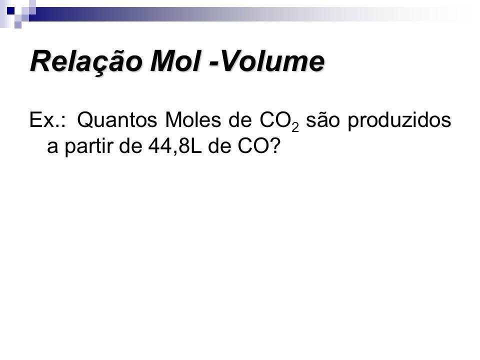 Relação Mol -Volume Ex.: Quantos Moles de CO2 são produzidos a partir de 44,8L de CO