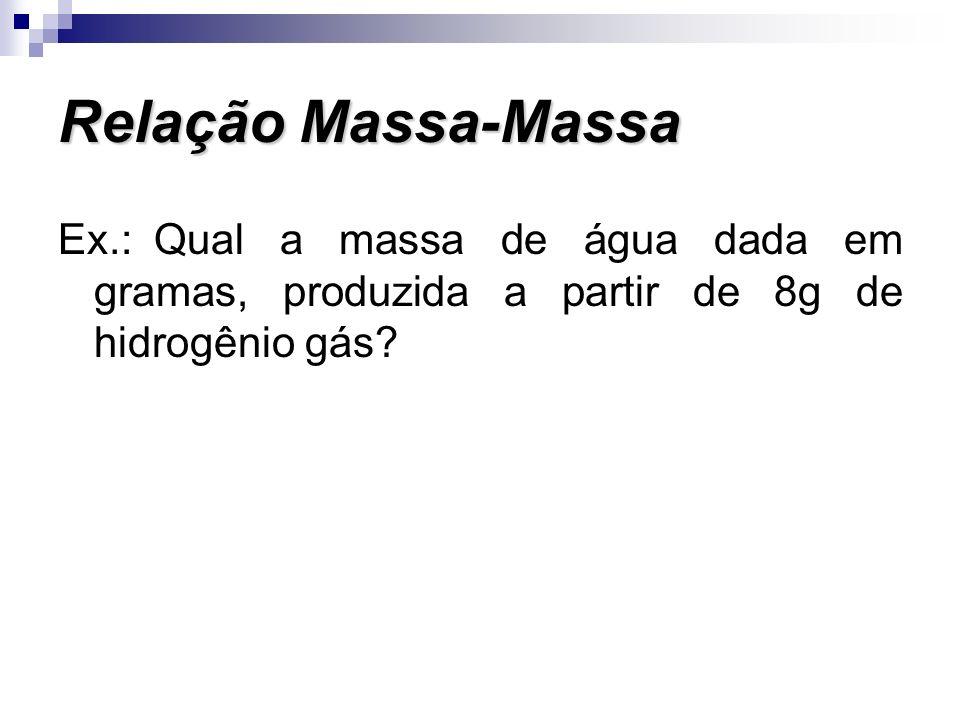 Relação Massa-Massa Ex.: Qual a massa de água dada em gramas, produzida a partir de 8g de hidrogênio gás