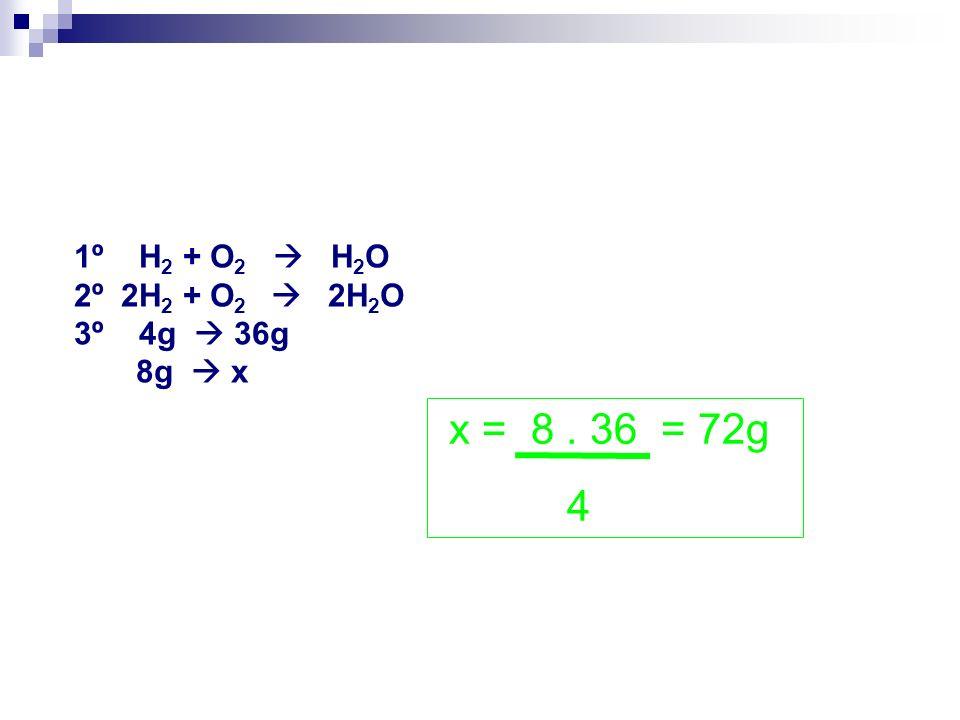 x = 8 . 36 = 72g 4 1º H2 + O2  H2O 2º 2H2 + O2  2H2O 3º 4g  36g