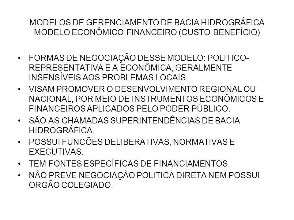 MODELOS DE GERENCIAMENTO DE BACIA HIDROGRÁFICA MODELO ECONÔMICO-FINANCEIRO (CUSTO-BENEFÍCIO)