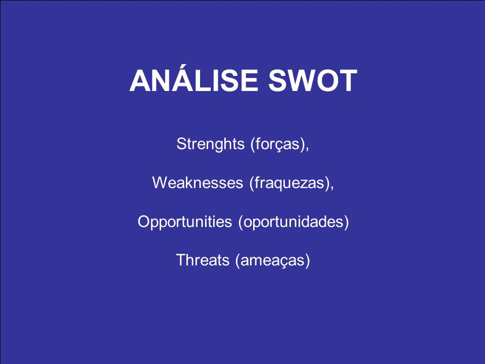 ANÁLISE SWOT Strenghts (forças), Weaknesses (fraquezas), Opportunities (oportunidades) Threats (ameaças)
