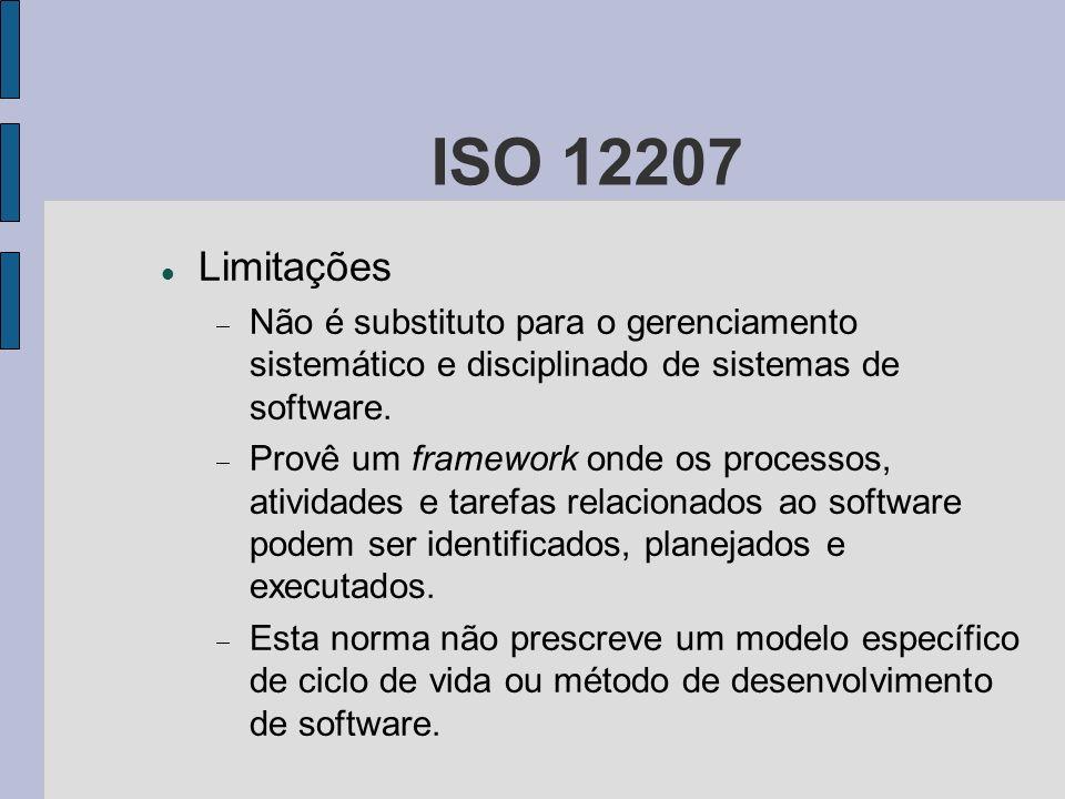 ISO 12207 Limitações. Não é substituto para o gerenciamento sistemático e disciplinado de sistemas de software.