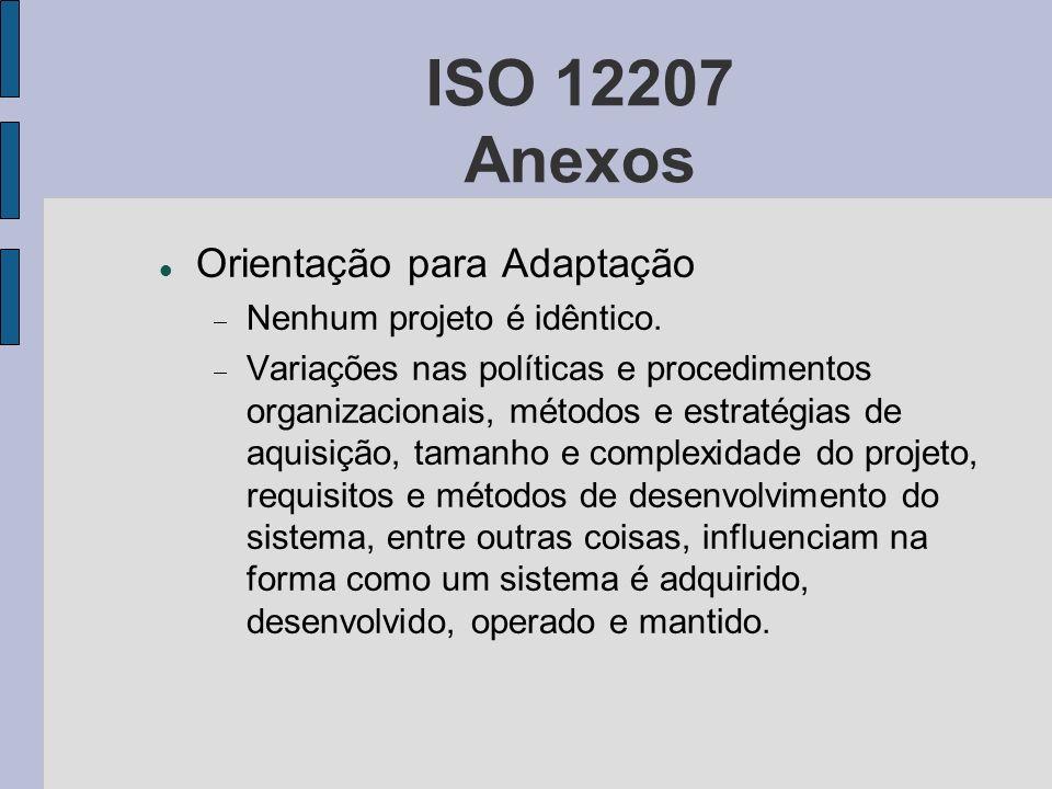ISO 12207 Anexos Orientação para Adaptação Nenhum projeto é idêntico.