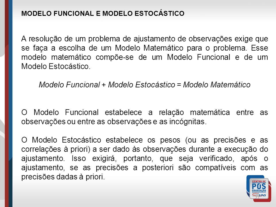 Modelo Funcional + Modelo Estocástico = Modelo Matemático