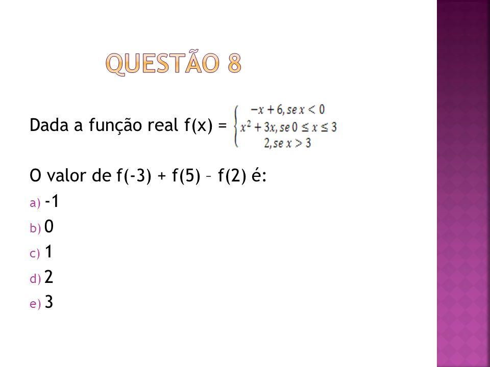 QUESTÃO 8 Dada a função real f(x) = O valor de f(-3) + f(5) – f(2) é: