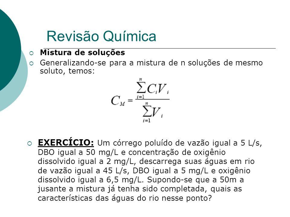 Revisão Química Mistura de soluções. Generalizando-se para a mistura de n soluções de mesmo soluto, temos:
