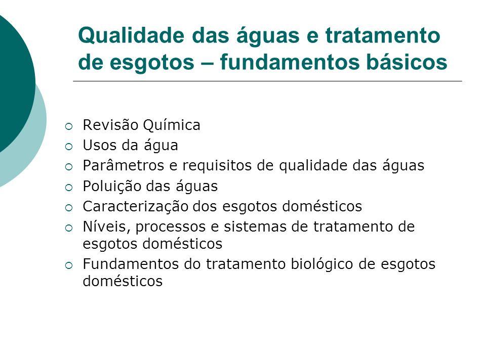 Qualidade das águas e tratamento de esgotos – fundamentos básicos