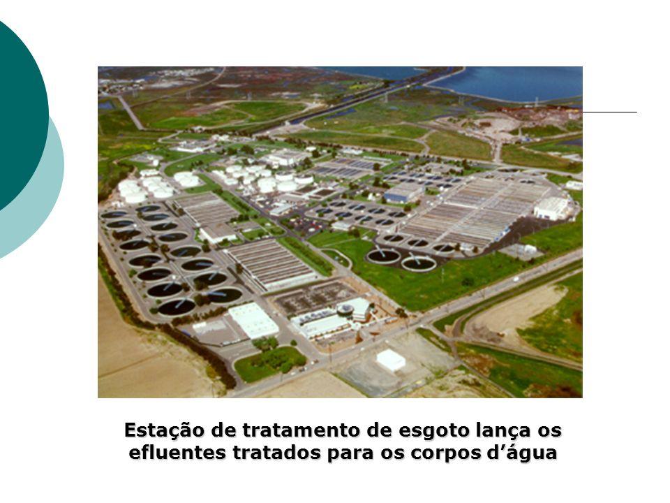 Estação de tratamento de esgoto lança os efluentes tratados para os corpos d'água