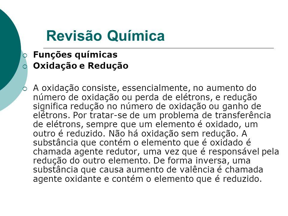 Revisão Química Funções químicas Oxidação e Redução